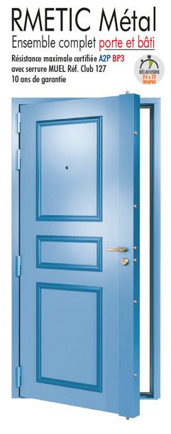 Porte blind e acier porte d 39 entr e tordjman metal for Porte tordjman