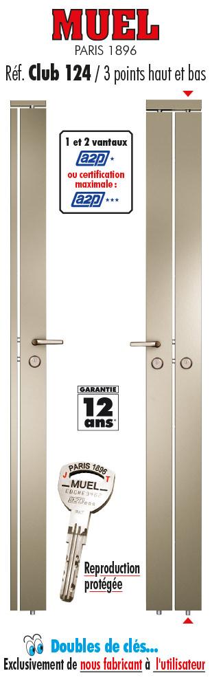 serrure 3 points carr n e club 124 muel. Black Bedroom Furniture Sets. Home Design Ideas
