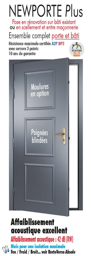 Porte blind e a2p bp 3 newporte plus tordjman metal - Porte blindee 3 points ...