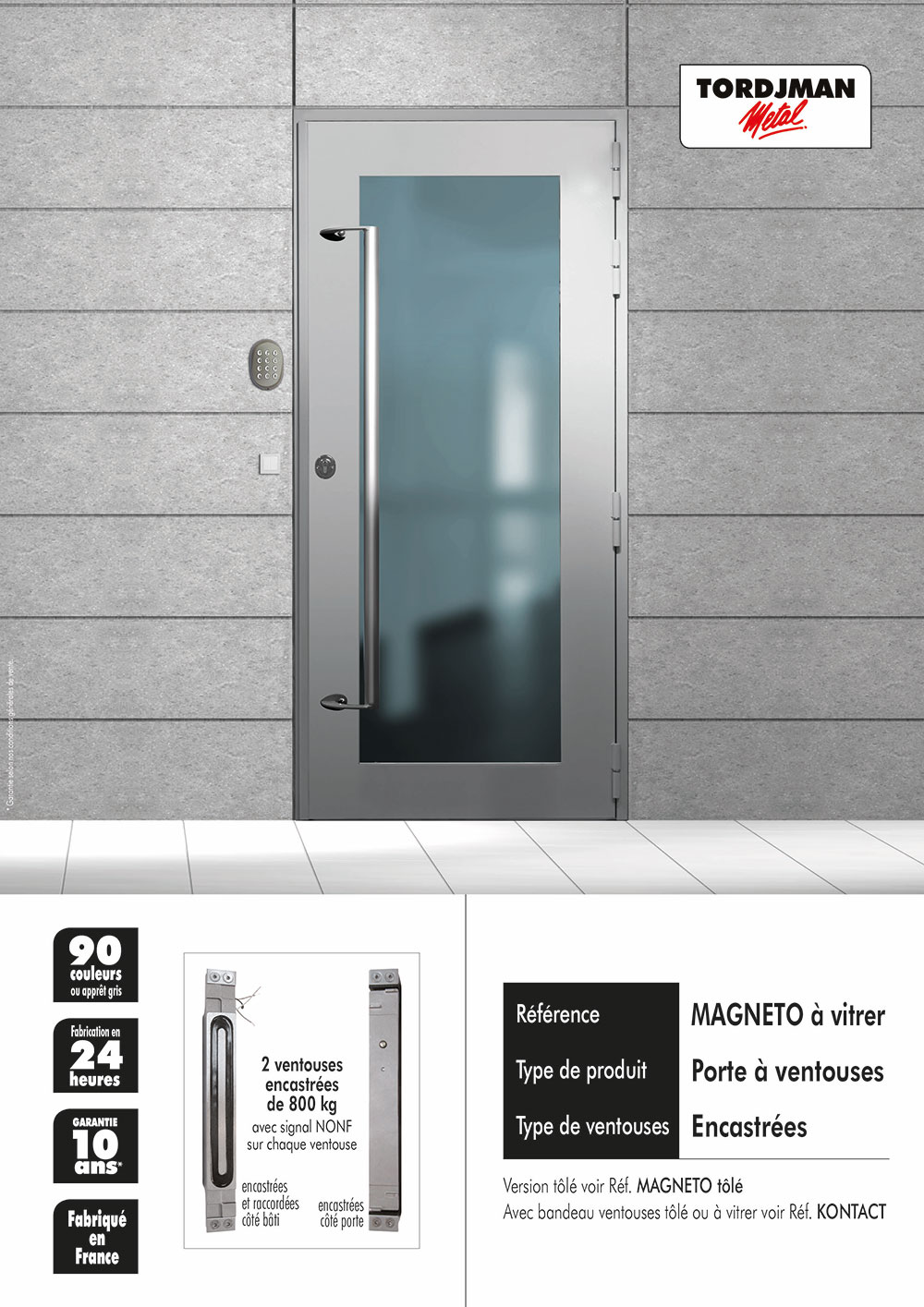 Porte d 39 immeuble magneto tordjman m tal for Porte semi vitree interieur