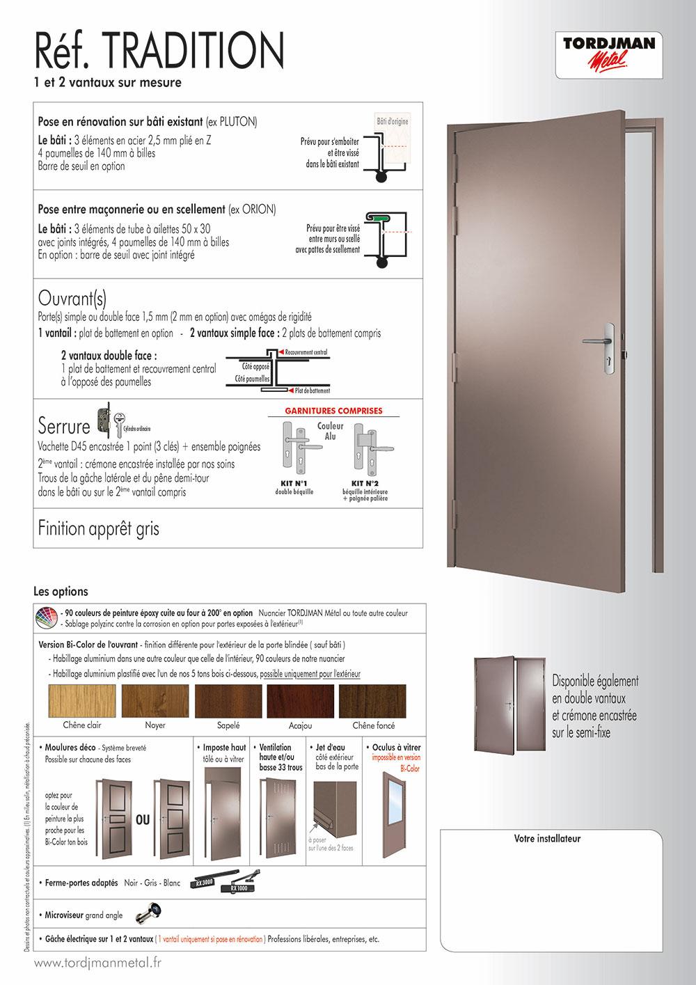 Porte 1 point porte en acier tordjman m tal - Porte metallique isolante ...