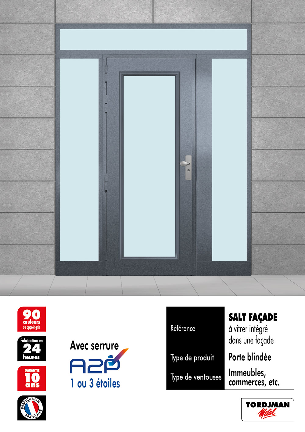 Porte blindée vitrée bandeau ventouses